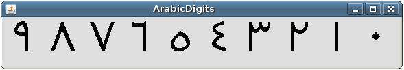 ArabicDigits example output showing Arabic digits from 0 through 9