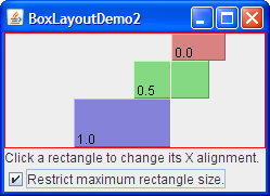 Three components with mixed X alignments