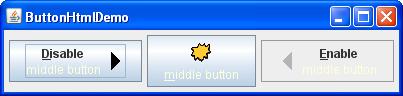 Screenshot of ButtonHtmlDemo in the Metal look and feel.
