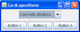 A picture of a GUI that uses CardLayout