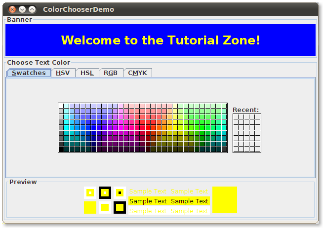A snapshot of ColorChooserDemo, which contains a standard color chooser.