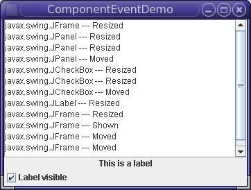 A window demonstrating component events