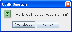 A yes/no dialog -- in other words