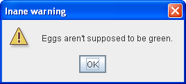Informational dialog with custom title, warning icon