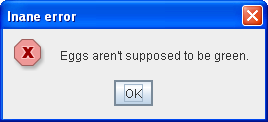 Informational dialog with custom title, error icon