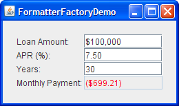 FormatterFactoryDemo, with no custom editors installed