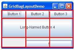 A snapshot of GridBagLayoutDemo with its grid