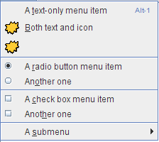 A menu with 4 parts, as indicated by 3 separators