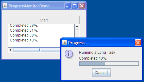 A snapshot of ProgressMonitorDemo and a dialog brought up by a progress monitor
