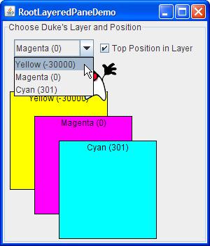 LayeredPaneDemo modified to use the root pane's layered pane