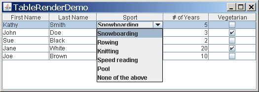 A combo box cell editor in use