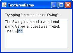 A snapshot of TextAreaDemo