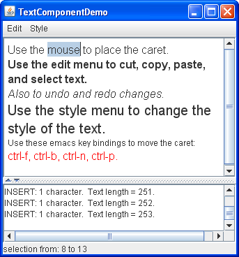 A snapshot of TextComponentDemo, which contains a customized text pane and a standard text area