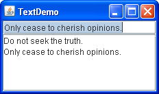 A snapshot of TextDemo