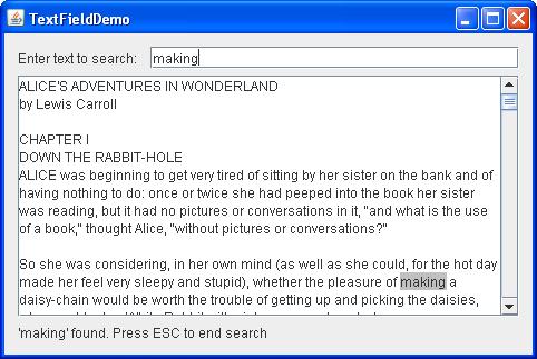 A snapshot of TextFieldDemo