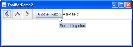 ToolBarDemo2 shows a tool bar with a variety of components