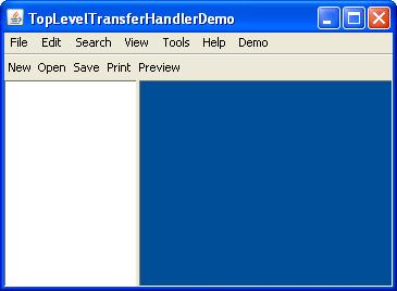 A snapshot of the TopLevelTransferHandlerDemo demo.