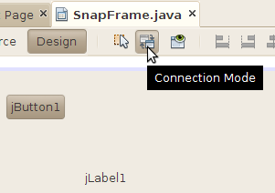 Connection mode button in the visual designer toolbar