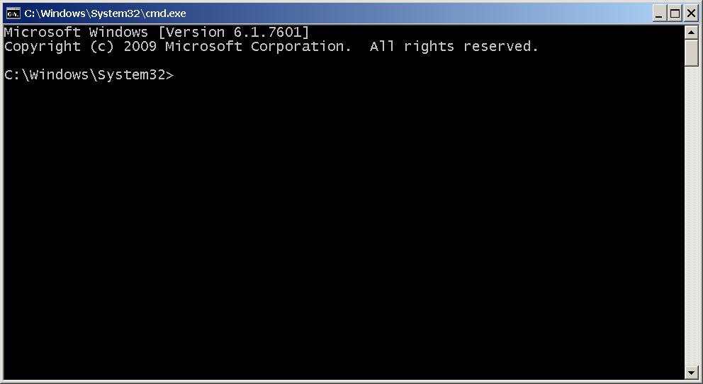a window where you can enter DOS commands