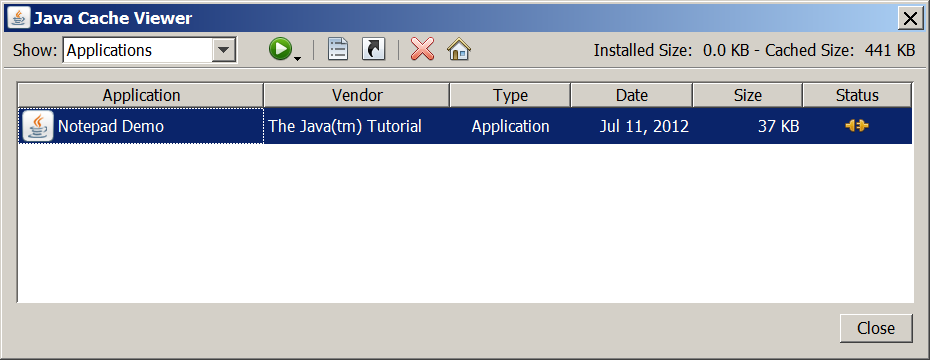A screen shot of the Java Cache Viewer application