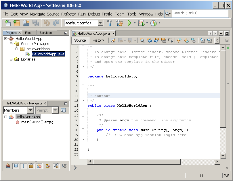 NetBeans IDE with the HelloWorldApp project open.