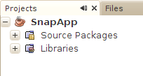 SnapApp in the Projects pane