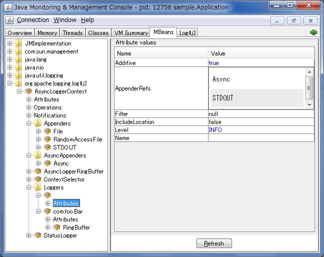MBeans 选项卡的 JConsole 屏幕截图