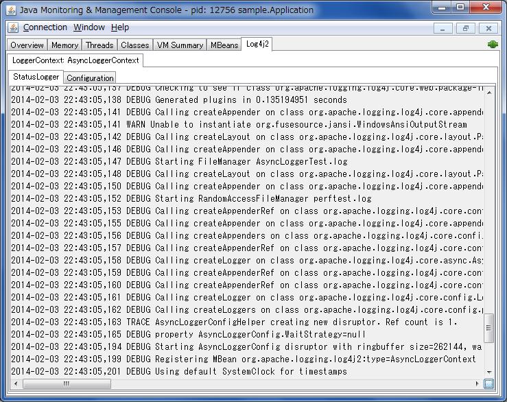 JConsole StatusLogger 显示的屏幕截图