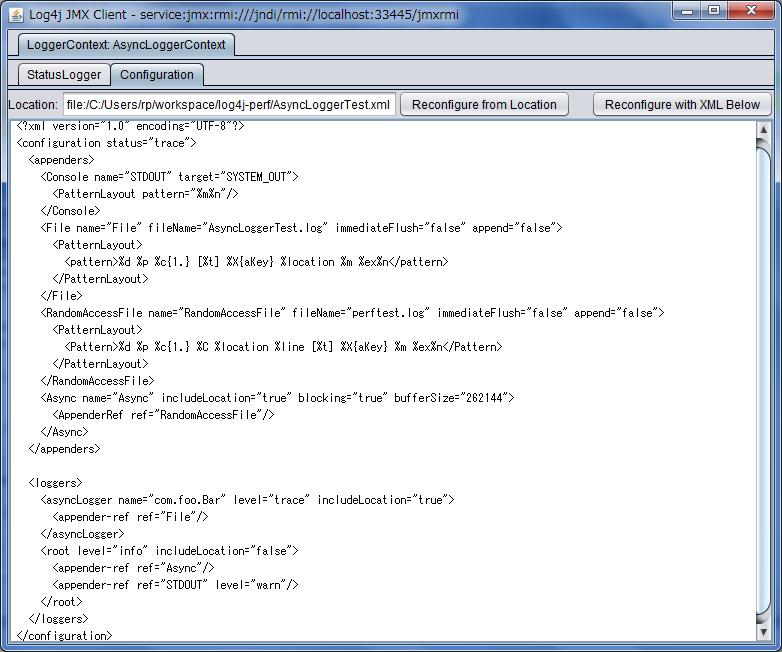 配置编辑器的 JMX GUI 屏幕截图