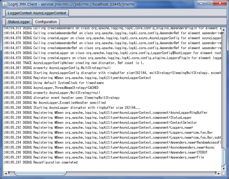 StatusLogger 显示的 JMX GUI 屏幕截图