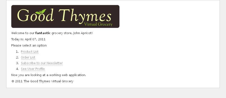 Example application home page