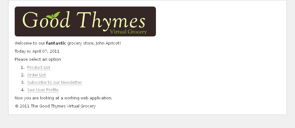示例应用程序主页